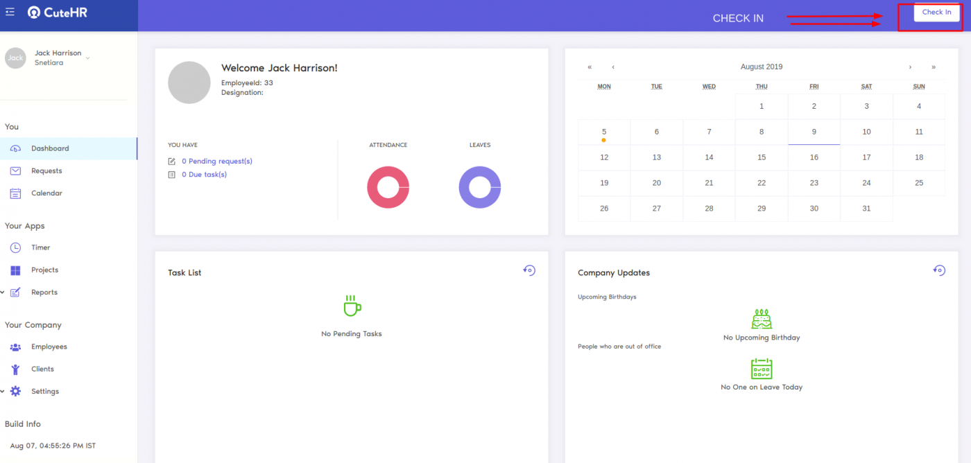 check in dashboard for work hours tracker