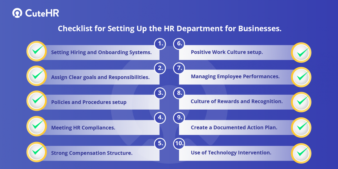 checklist for HR department setup in startups