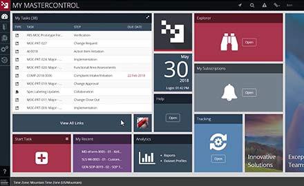 MasterControl Document Control dashboard