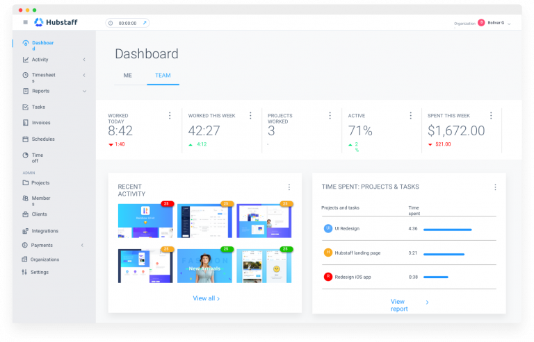 hubstaff dashboard preview