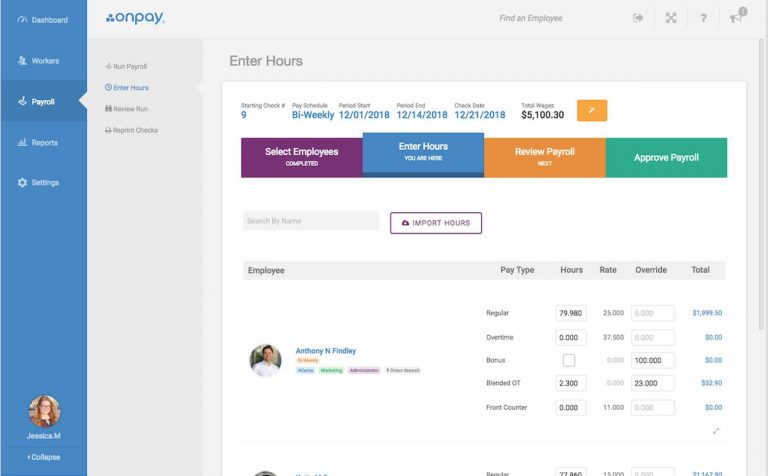 onpay payroll dashboard