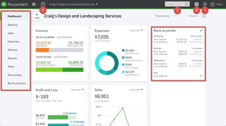 quickbooks dashboard for payroll