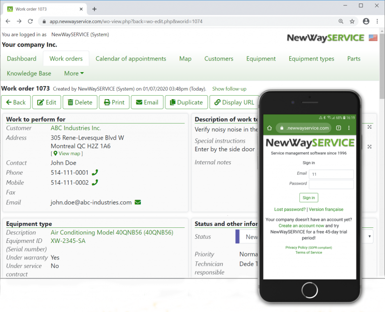 New Way service dashboard