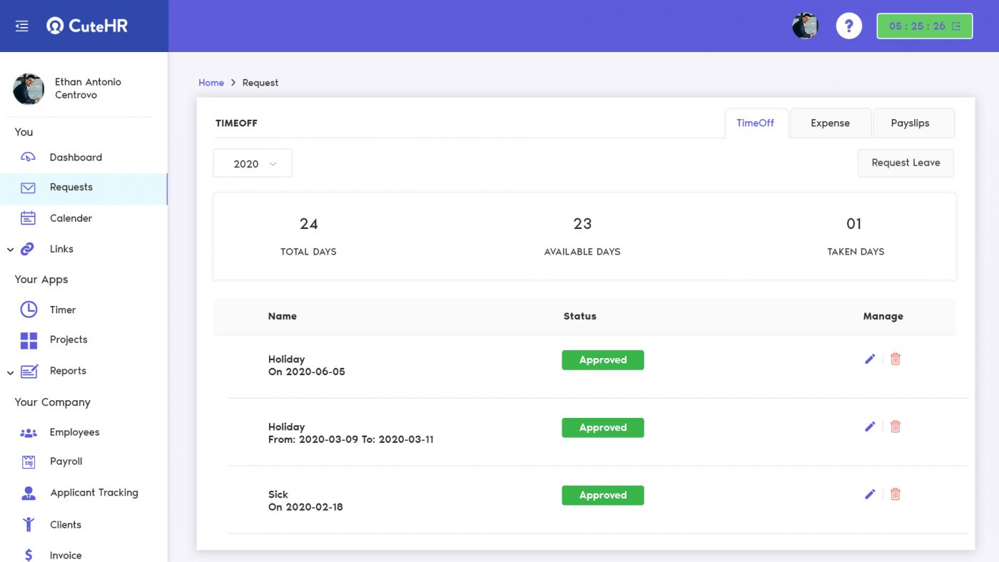 request manager dashboard