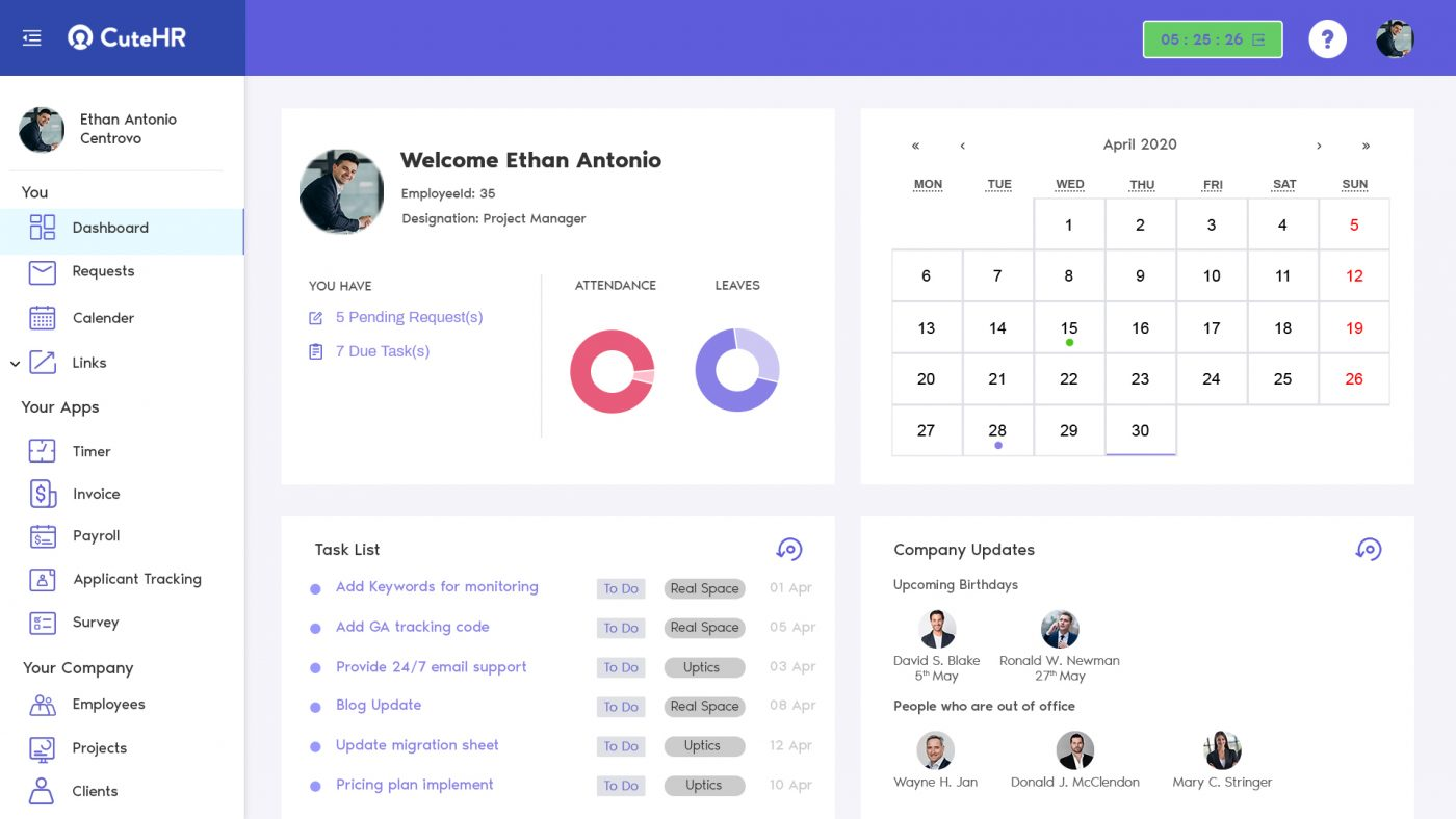 CuteHR Homepage dashboard